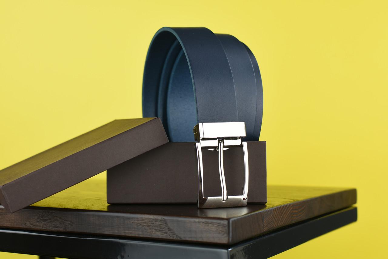 Мужской брючный кожаный ремень синего цвета размер xl