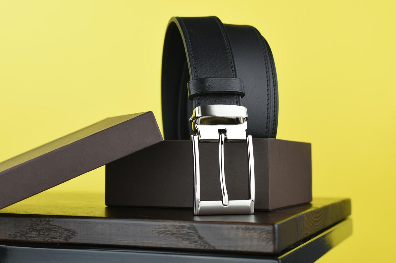 Мужской брючный кожаный ремень прошивной черного цвета размер xl 120 см