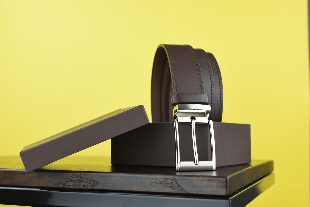 Мужской брючный кожаный ремень прошивной  коричневого цвета размер xl 120 см