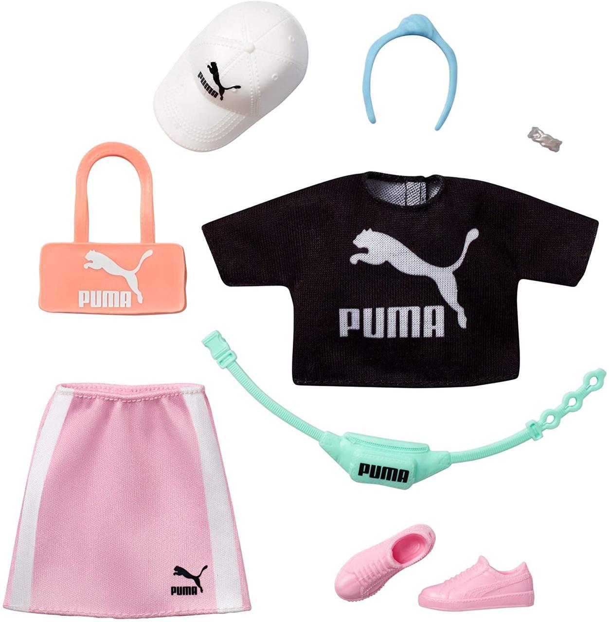 Одяг для ляльок Барбі Puma Fashion Black Top, Pink Skirt