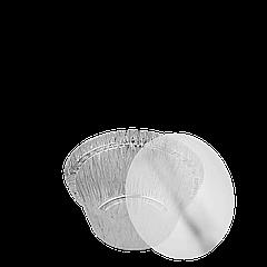 Крышка к круглому. алюм. контейнеру 135мл Плоская, пластиковая (T20L) уп/150 шт