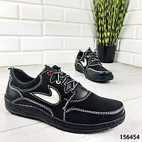 """Кроссовки мужские, черные в стиле """"Nike"""" эко кожа, мокасины мужские, кеды мужские, обувь мужская"""