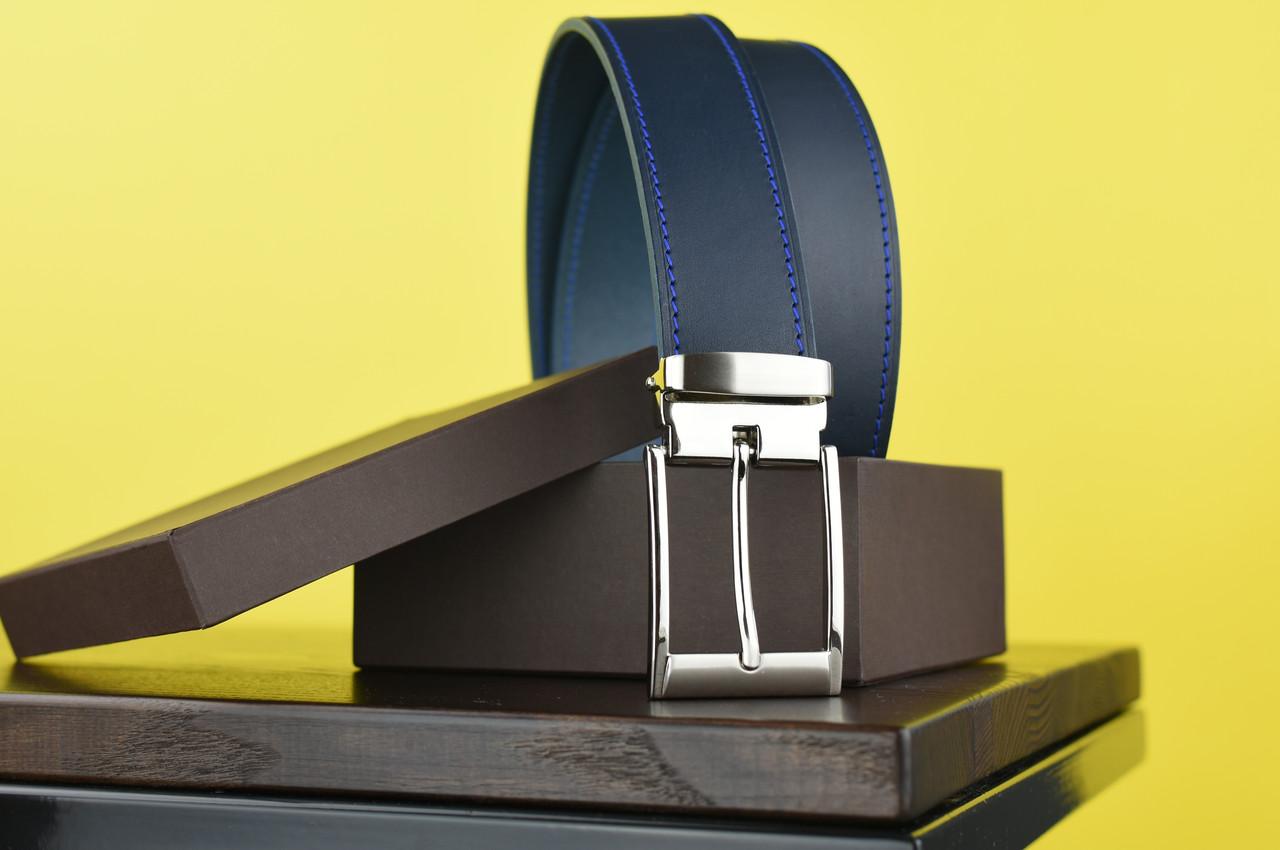 Мужской брючный кожаный ремень прошивной синего цвета размер xxl 125 см