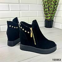 """Ботинки женские ДЕМИСЕЗОННЫЕ, черные """"Dopouze"""" эко замша. Деми ботинки. Обувь женская. Обувь осенняя"""