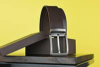 Мужской джинсовый кожаный ремень коричневого цвета размер l 115 см, фото 3