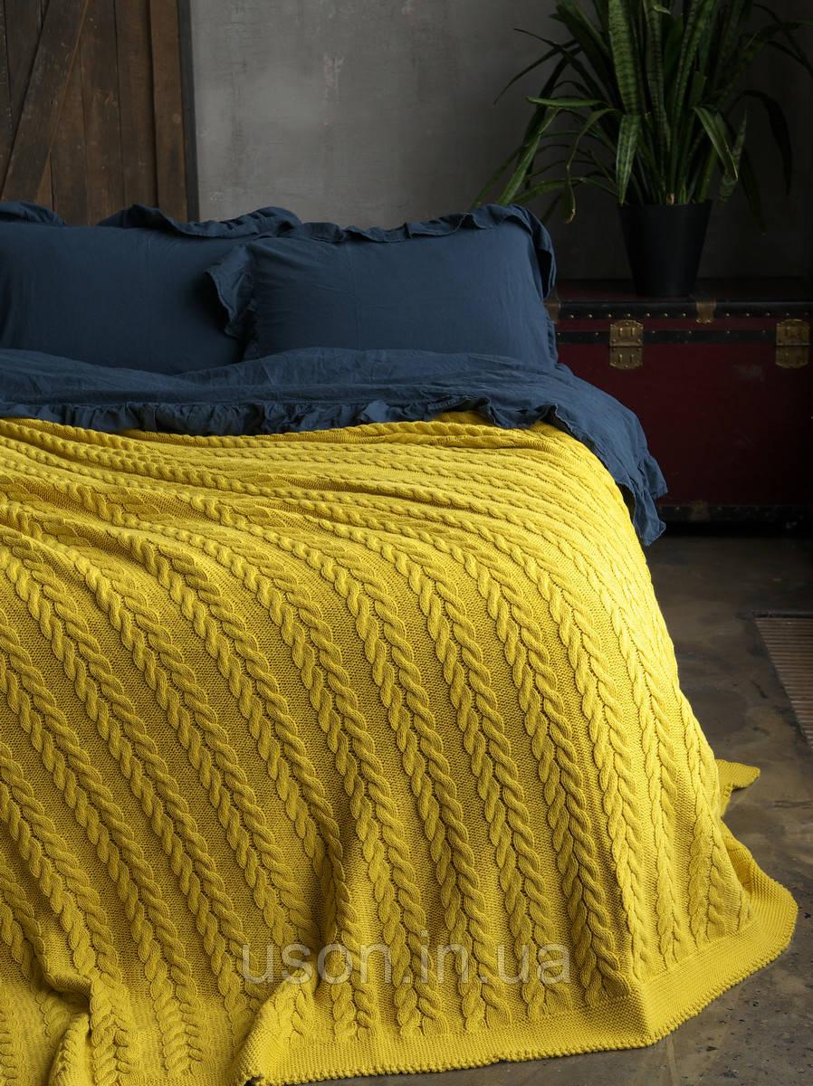 Покривало в'язане 220x240 BETIRES BREMEN mustard