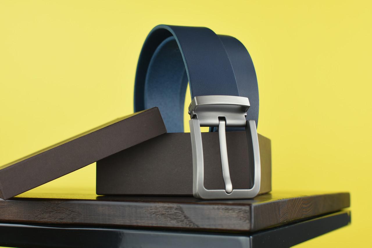 Мужской джинсовый кожаный ремень синего цвета размер m 110 см