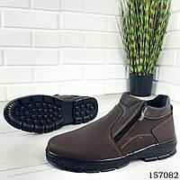 """Ботинки мужские зимние коричневые """"Ajoles"""" эко кожа, Зимние ботинки. Обувь мужская. Обувь зимняя"""