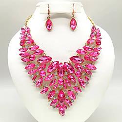 Комплект SONATA (Колье + серьги), розовые и белые камни, позолота 18К, 63229                            (1)