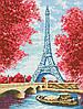 """Схема для вышивки бисером на габардине """"Весна в Париже"""" Размер 27х35 см."""