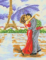 """Схема для вышивки бисером на габардине """"Поцелуй в Париже"""" Размер 27х35 см."""