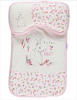 Комплект вкладыш в коляску с матрасом и подушкой Зайка для девочки