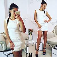 Женское платье мини, машинная вязка, белое платье