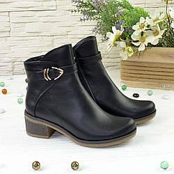 Ботинки женские кожаные на невысоком каблуке, цвет черный