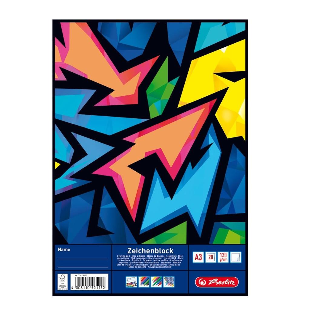 Альбом для малювання Herlitz A3 20арк 120г Neon Art