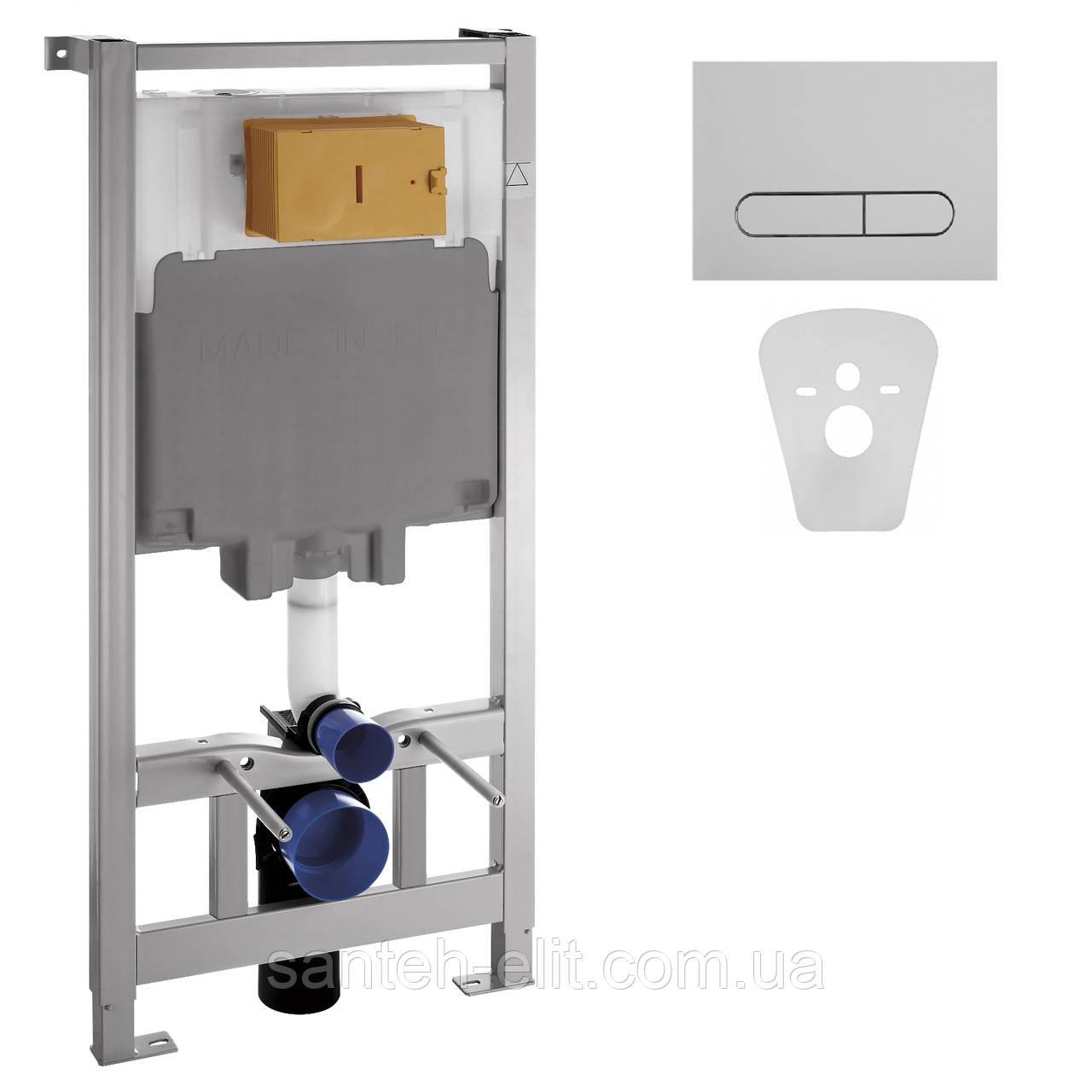 Инсталляция VOLLE MASTER для подвесного унитаза, комплект инсталляции 4в1, клав иша хром 141515