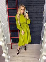 Платье с резинкой на талии,рукав пышны со сборкой,42-44,46-48,50-52,оливка, мокко, малина