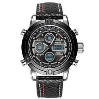 Часы мужские наручные AMST 3022 Silver-Black Fluted Wristband ( ABR-1094-0038)