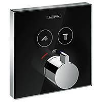 Hansgrohe SHOWERSELECT термостат для двух потребителей, стеклянный, черный/хром 15738600