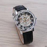 Мужские наручные часы Winner 8012 Diamonds Automatic Black-Silver ABR-1099-0024