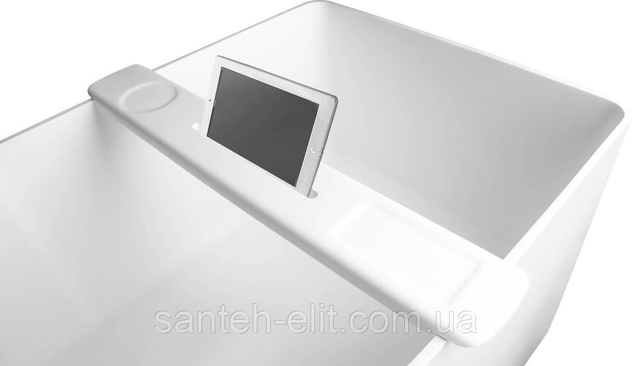 Полка на ванну 87*11,5*2,4мм накладная каменная Solid surface, белый