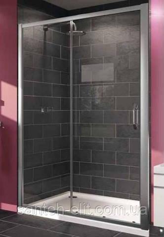 X1 дверь 140см односекционная раздвижная для ниши и боковой стенки, профиль глянцевый хром, стекло прозрачное