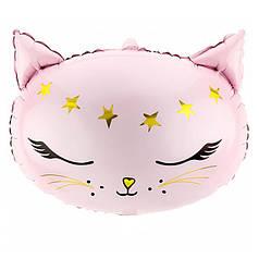 Фол шар фигура Голова кота со звездами (Party Deco)