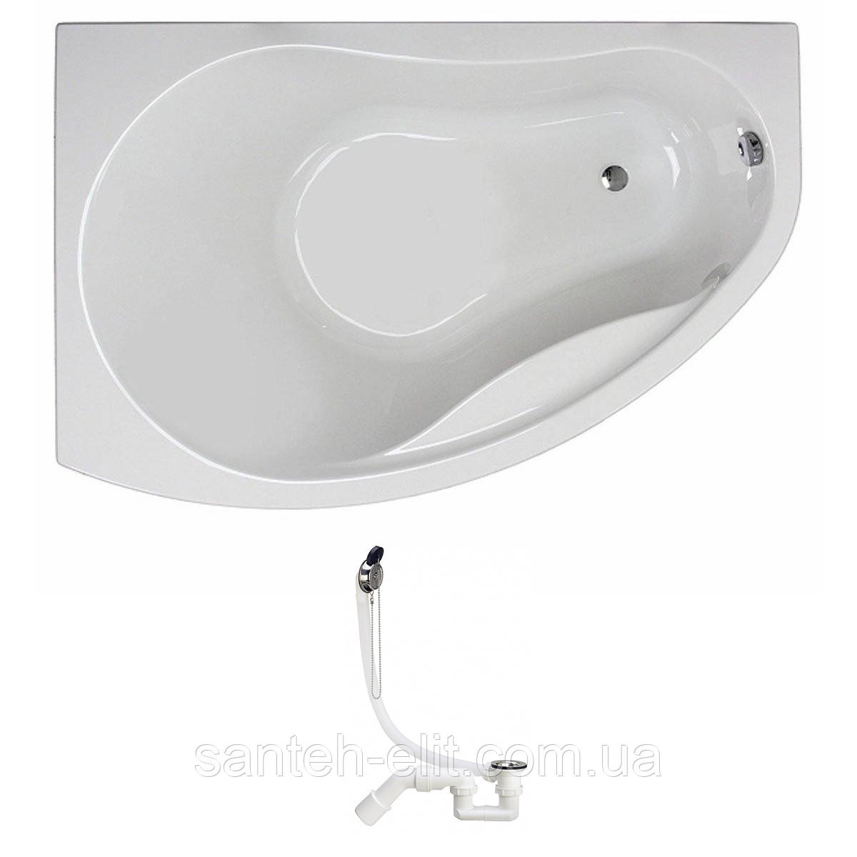 Ванна Kolo PROMISE 150*100см асимметричная, левая, белая, с ножками SN7 + Viega Simplex сифон для ванны