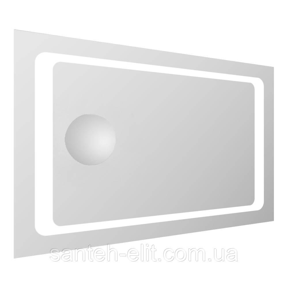 Зеркало прямоугольное 55*80см со светодиодной подсветкой и встроенным зеркалом с увеличением 3Х