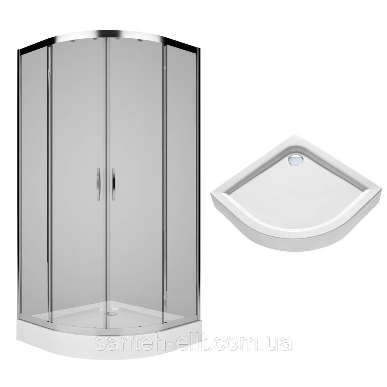 Комплект: REKORD душевая кабина 90см, полукруглая, прозрачное стекло, серебристый блеск + FIRST поддон 90*90см, полукруглый, с интегр. панелью