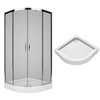 Комплект: REKORD душевая кабина 90см, полукруглая, прозрачное стекло, серебристый блеск + FIRST поддон 90*90см, полукруглый, с интегр. панелью, фото 1