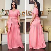 Платье летнее льняное длинное в пол розово-кораллового цвета 50-52р