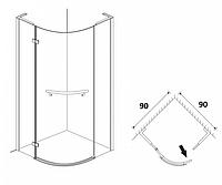 Півкруглі душові кабіни Aqua Simple 90х90