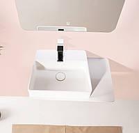 Умывальник 58*37*12,5см подвесной, с полочкой каменный Solid surface, фото 1