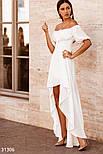 Длинное асимметричное платье с открытыми плечами белое, фото 2
