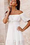 Длинное асимметричное платье с открытыми плечами белое, фото 4