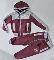 Спортивный костюм на мальчика от 2 до 6 лет бордовый с серым 21003