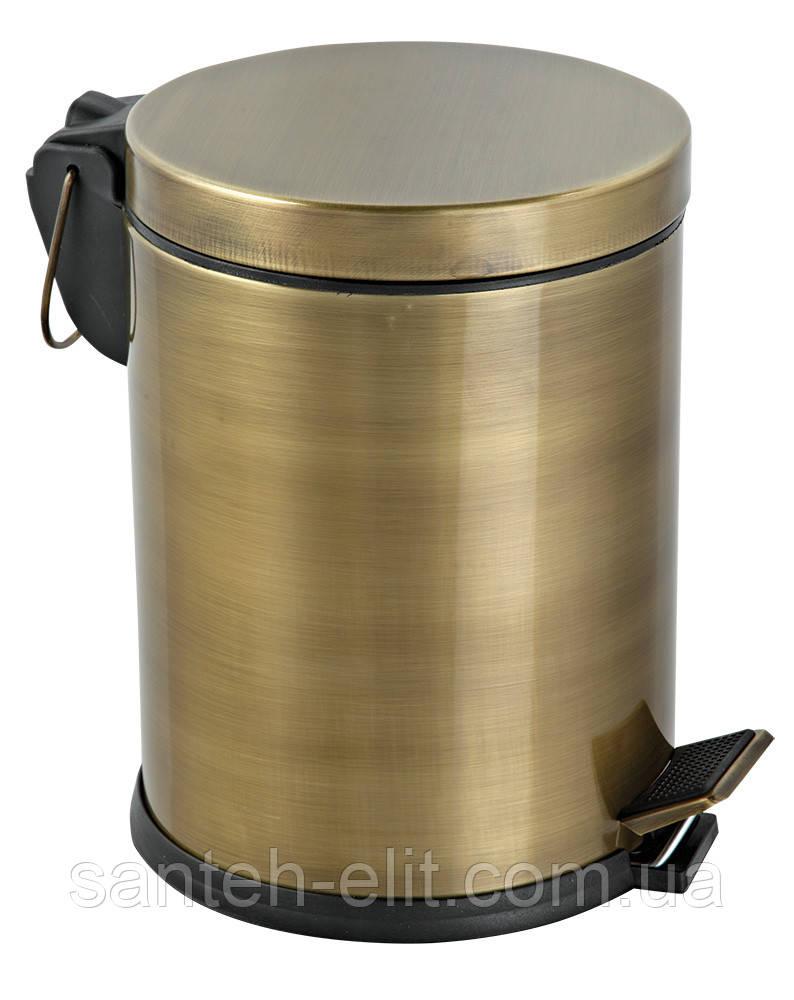 Комплект: ведро для мусора с педалью 5л + ершик для унитаза, цвет антик