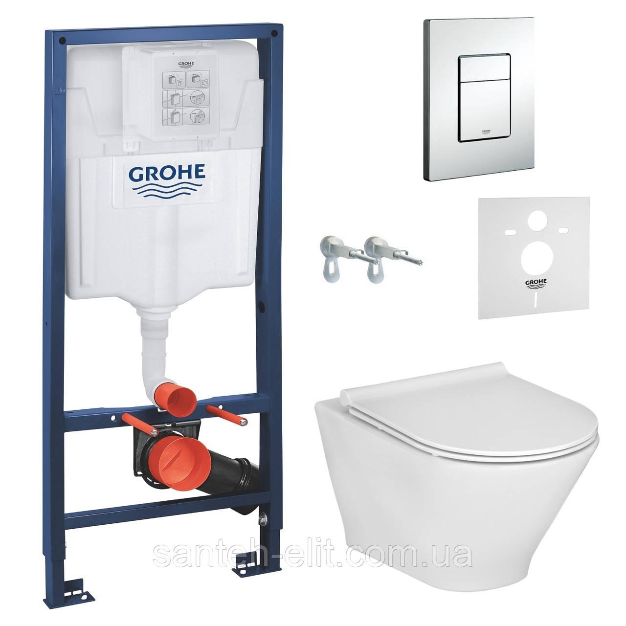 Комплект: унітаз підвісний Roca GAP ROUND Rimless з сидінням + інсталяція Grohe 3в1 + прокладка (A34H0N8000 + 38772001 + 37131)