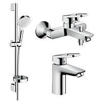 Hansgrohe LOGIS Loop набор смесителей для ванны, умывальник 100 (71151000+71244000+26553400)