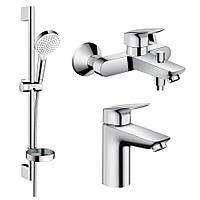 Hansgrohe LOGIS набор смесителей для ванны (71100000+71400000+26553400)