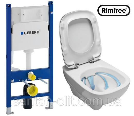 Комплект: Kolo STYLE Rimfree унитаз подвесной + сиденье с микролифтом + инсталляция GEBERIT Delta 3в1