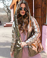 Стильная куртка женская с поясом бронза