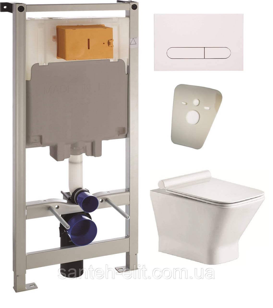 Комплект: унітаз підвісний Volle LEON Rectangular c сидінням + інсталяція VOLLE MASTER 4в1 (13-11-160 + 141919)