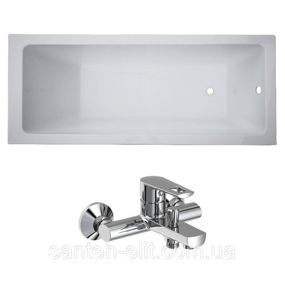 Комплект: LIBRA ванна 170*70*45,8см без ножек + BENITA смеситель для ванны, хром 35мм