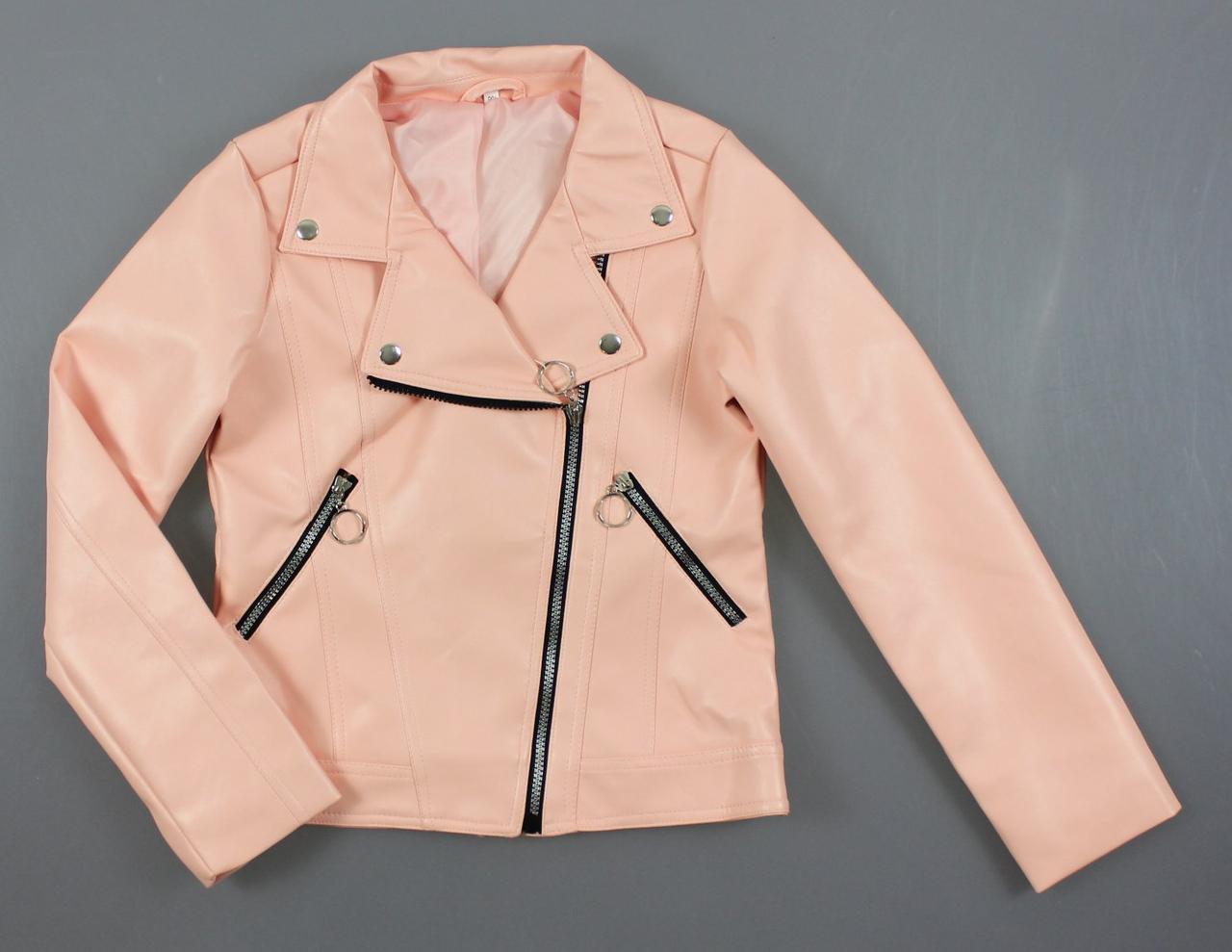 {есть:146,152,158} Куртка косуха кожа для девочек,  Артикул: ALL51-розовый [146]