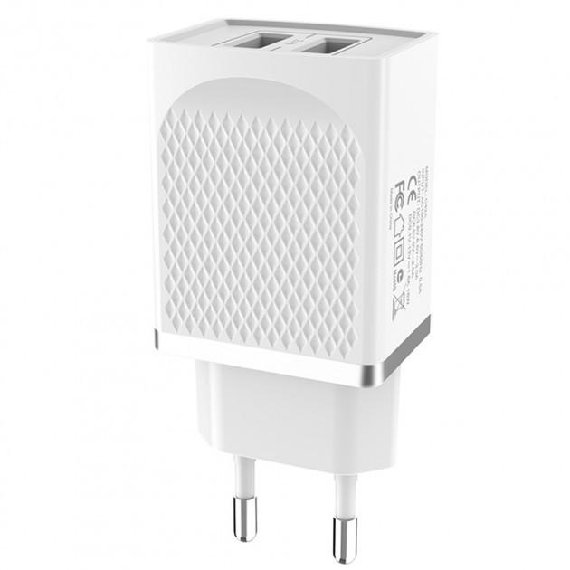Зарядний пристрій HOCO C43A Vast Power Charger 2USB/2,4A White