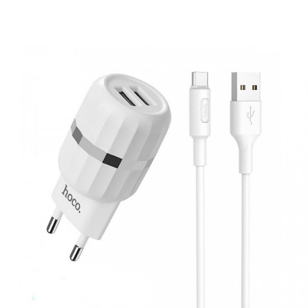 Зарядний пристрій HOCO C41A Wisdom 2USB/2,4A+Type-C White