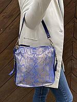 Сумка из натуральной лазерной кожи с карманами по бокам синего цвета, фото 1