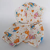 Многоразовая 3 слойная защитная тканевая маска для лица детская подростковая женская мужская мягкая хлопок